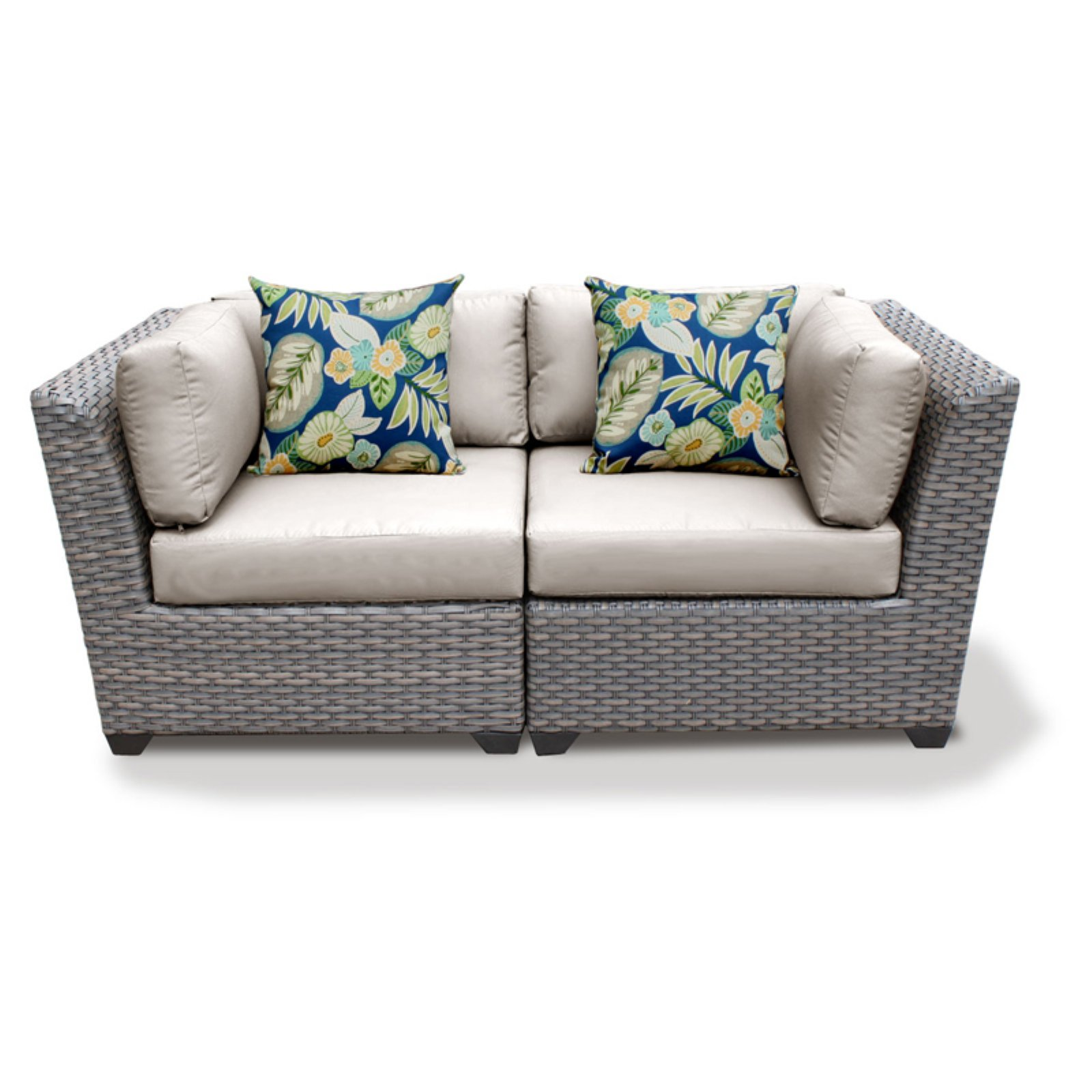 TK Classics Florence Wicker 2 Piece Patio Conversation Set with 2 Sets of Cushion Covers