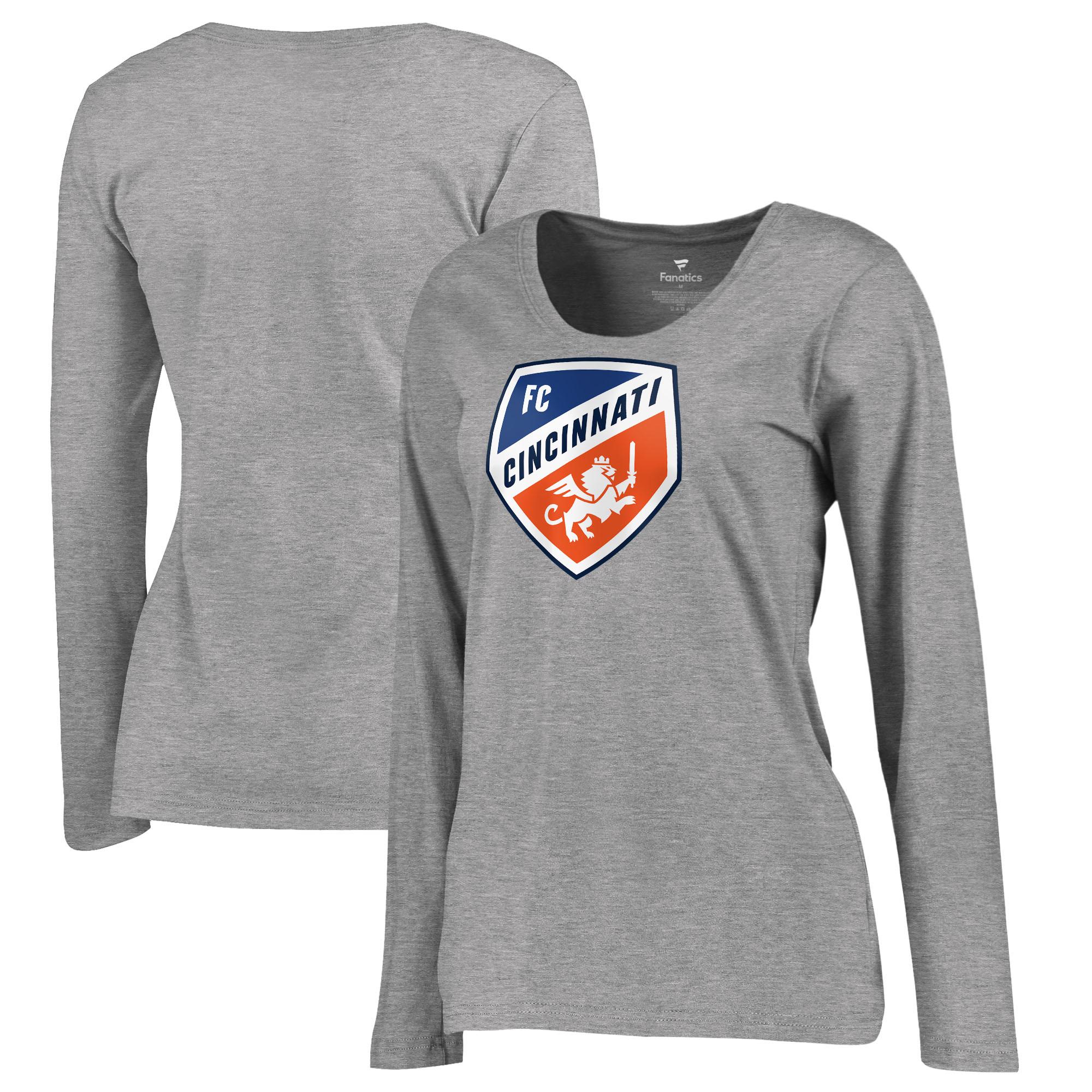 FC Cincinnati Fanatics Branded Women's Primary Logo Plus Size Long Sleeve V-Neck T-Shirt - Heather Gray