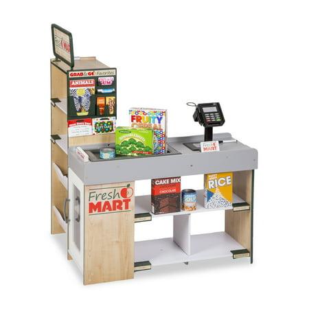 Melissa & Doug Freestanding Wooden Fresh Mart Grocery Store Play Set