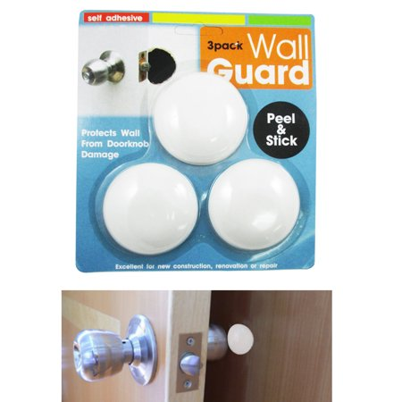 3Pc Door Knob Wall Shield Round White Self Adhesive Protector Prevents Holes - Thru Hole Knob