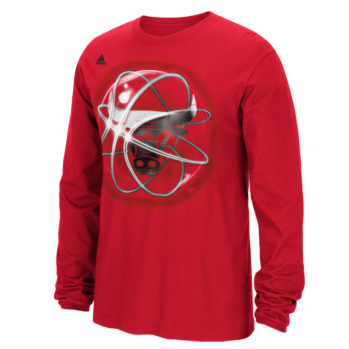 "Chicago Bulls Adidas NBA ""Horizons"" Premium Print L/S Men's T-Shirt"