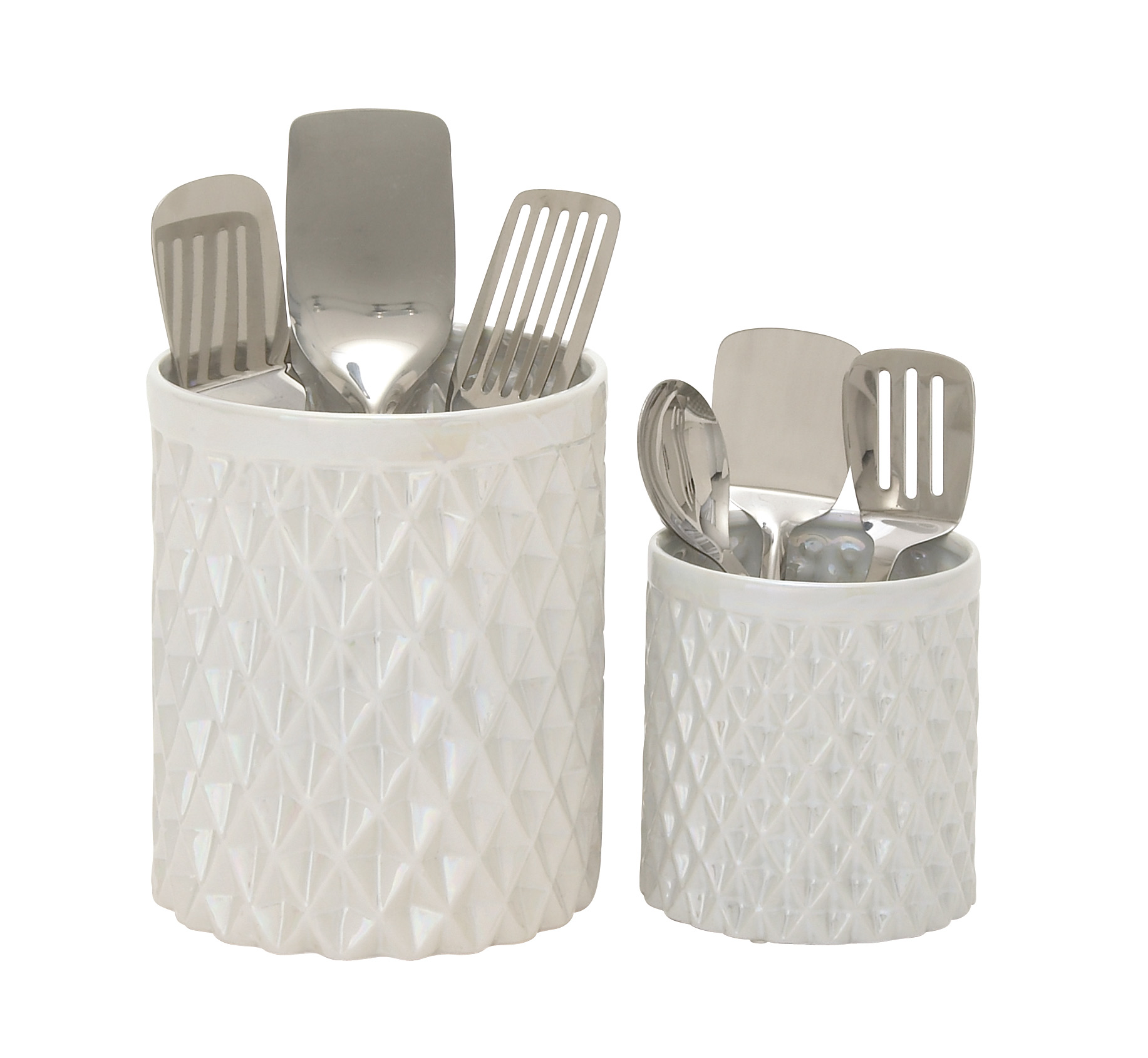 Decmode Set of Two - 6 and 9 Inch Glam-Inspired Ceramic Kitchen Utensil Jars, Pearlescent white
