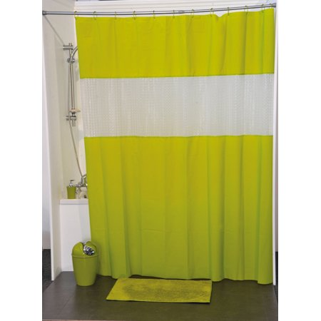 Evideco Laser Peva Solid Colors Bathroom Shower Curtain Lime Green
