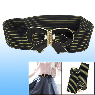 Gold Tone Metallic Thread Ladies Black Elastic Belt
