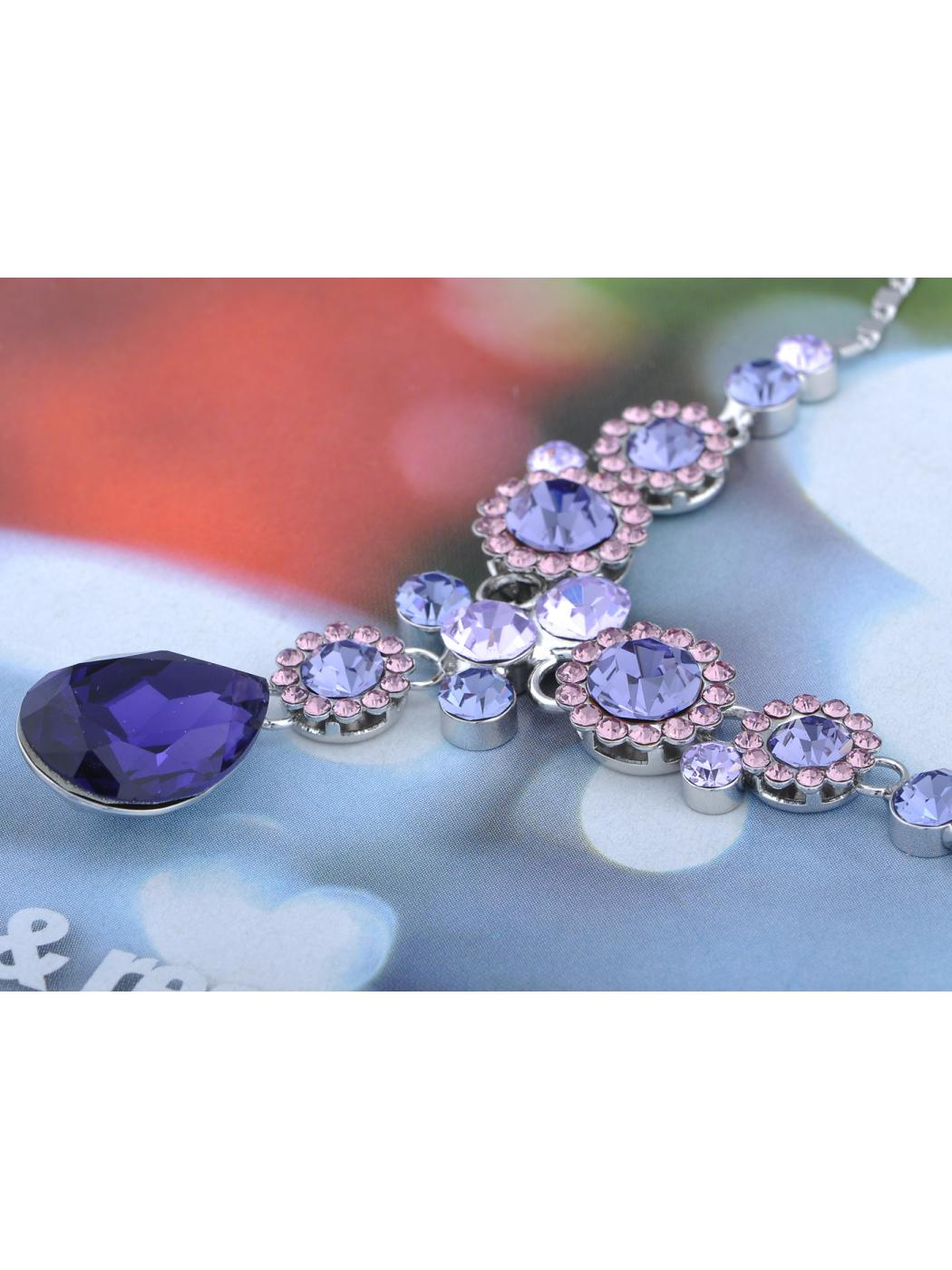 Tanzanite Purple Daisy Garden Crystal Element Earring Necklace Set by