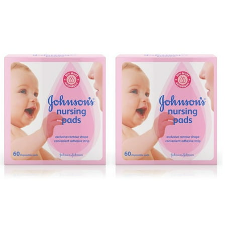 (2 Pack) Johnson Disposable Nursing Pads with Natural Cotton, 60 ct (Cotton Breast Pads)