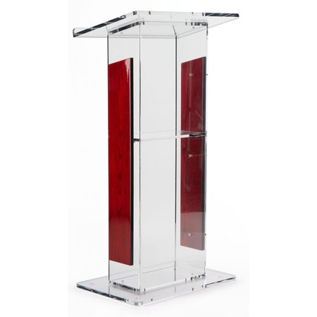 "Acrylic Lectern with Mahogany Accent Panels, Includes Removable Shelf, 1-Inch Lip On Podium Surface, Easy To Assemble, Hardware Included - 45-34"" H x 23-1/2"" W (LECTFLCHW)"