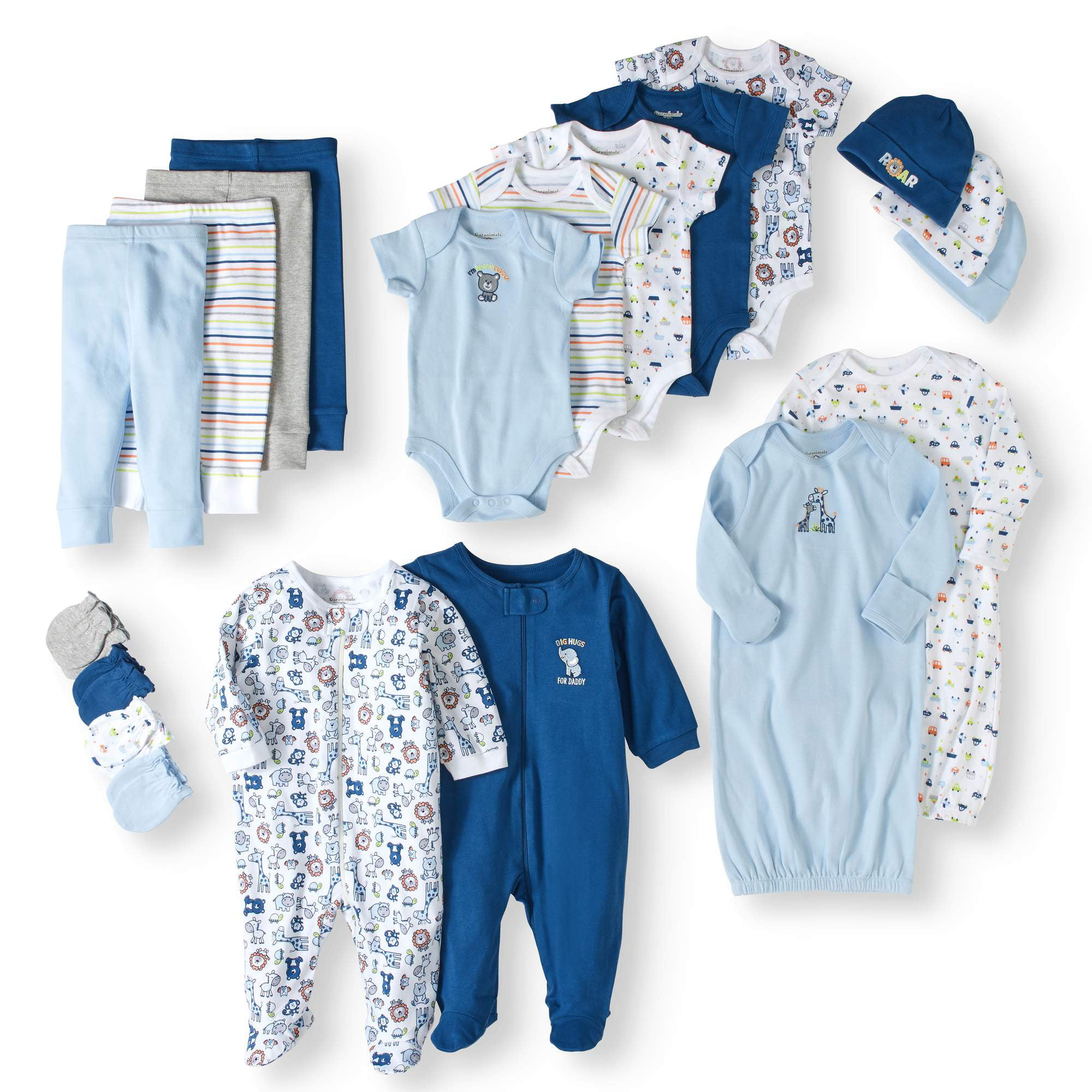 Click here to buy Garanimals Newborn Baby Boy 20 Piece Layette Baby Shower Gift Set.