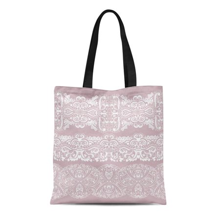 ASHLEIGH Canvas Bag Resuable Tote Grocery Shopping Bags Pink Abstract of White Laces Border Anniversary Birthday Classic Crochet Tote Bag (Pink Classic Tote)