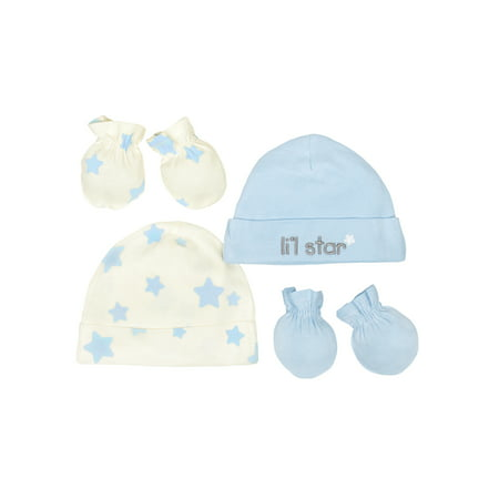 Gerber Newborn Baby Boy Organic Cap and Mittens Set,
