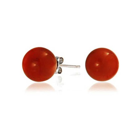 Red Carnelian Gemstone Orange Simulated Coral Round Ball Stud For Women 925 Sterling Silver More Sizes