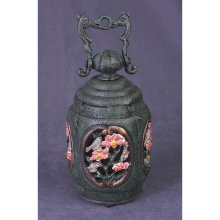 Cast Iron Tealight Candle Holder with Bird and Floral Motif