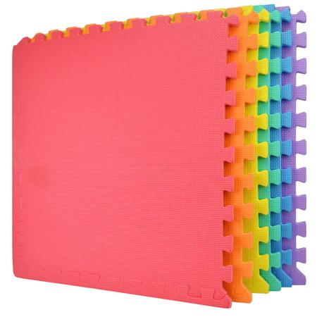 Wacces 24 x 24 inch Multi-Purpose Puzzle EVA Floor Interlocking Foam Exercise Mat Tiles -