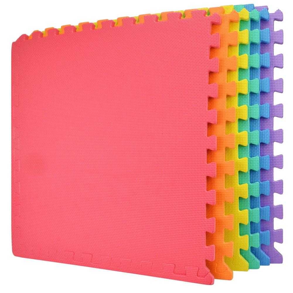 Wacces 24 x 24 inch Multi-Purpose Puzzle EVA Floor Interlocking Foam Exercise Mat Tiles - Multi-Color