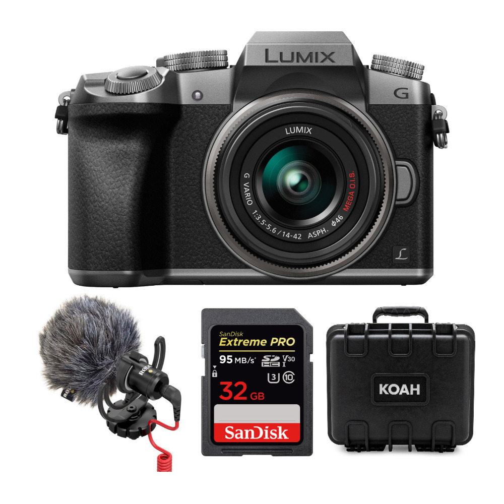 Silver /& 32GB Compact Microphone Bundle Panasonic LUMIX G7 Mirrorless Digital Camera with 14-42mm Lens