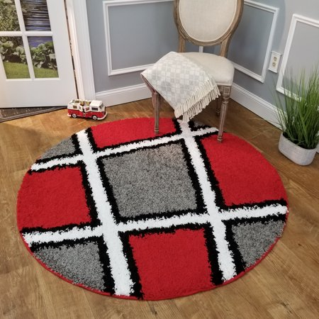Maxy Home Bella Multicolor Tiles 5 Ft Round Area Rug