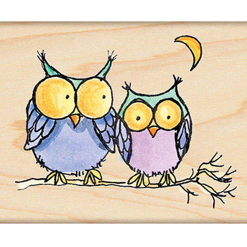 "Penny Black Mounted Rubber Stamp 2.25""X2.75""-Moonlight Owls"