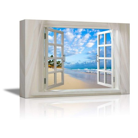 Wall26 Glimpse into Clear Sea and Tropical Beach out of Open Window - Canvas Art Wall Decor - 24