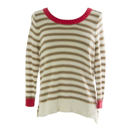 Women's Petite Beige Combo Striped 3/4 Sleeve Sweater