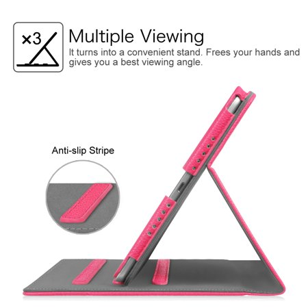 Fintie Multi-Angle Viewing Case Cover for iPad 9.7 6th / 5th Gen 2018 2017, iPad Air 1/2, Hot Pink - image 4 of 7