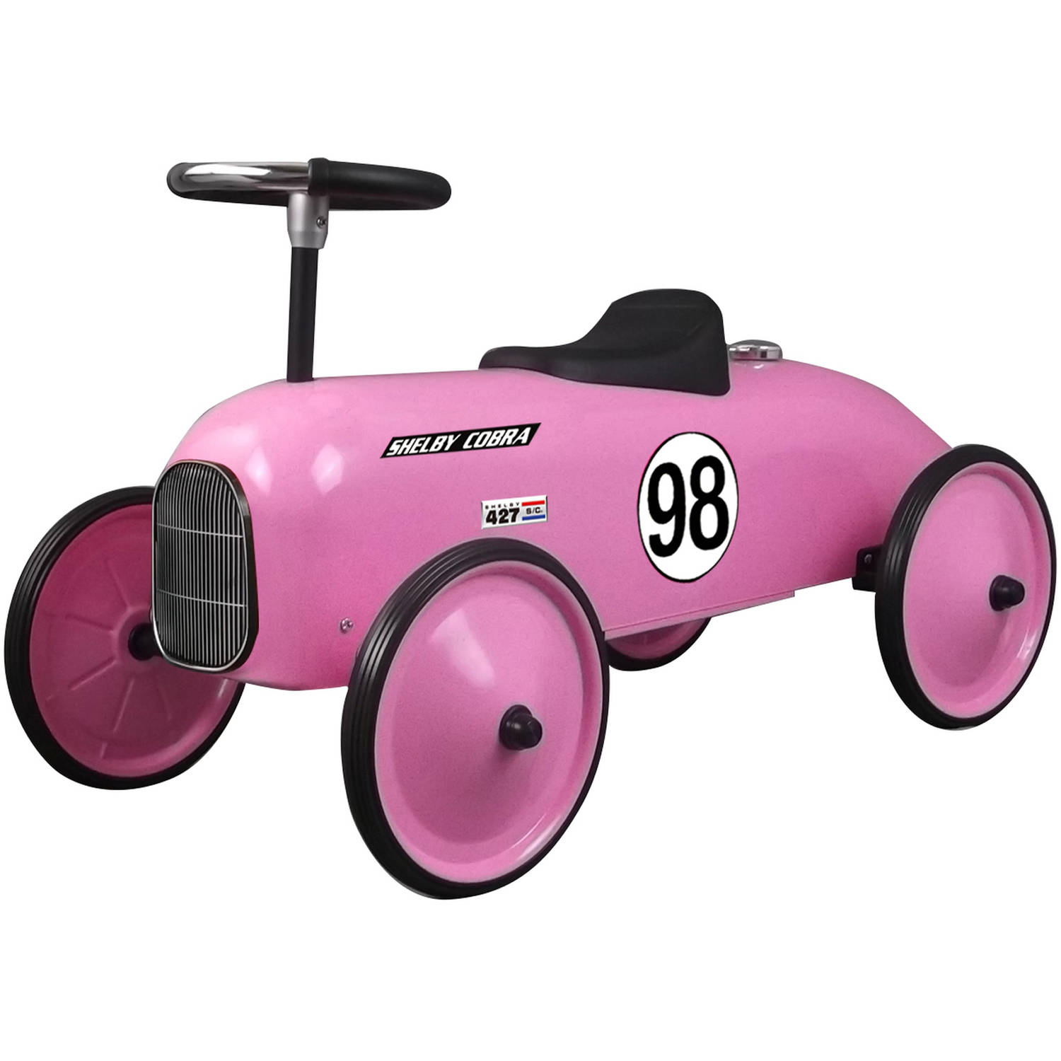 Shelby Cobra Stamped Steel Metal Racer Foot To Floor Ride On Ca, Pink