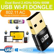 New Wireless Dual Band 2.4G 5G 5GHz 802.11AC Wifi USB Dongle Network Adapter