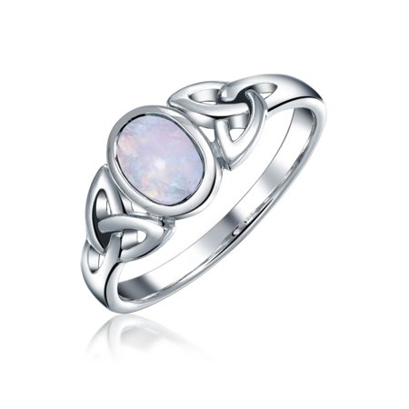 Pearl Celtic Knot Ring (Celtic Trinity Knot Triquetra Rainbow Moonstone Ring For Women For Teen 1MM Band 925 Sterling Silver June Birthstone)