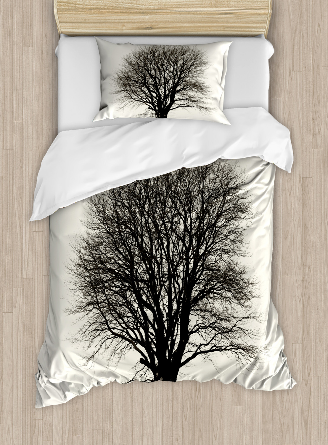 Black And White Duvet Cover Set Lonely Tree In Field With Many Leafless Branches Countryside Vintage Decorative Bedding Set With Pillow Shams Ivory Dark Grey By Ambesonne Walmart Com Walmart Com