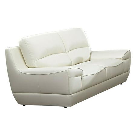 American Eagle Furniture Oakellar White Italian Leather Loveseat ()