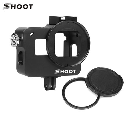 - SHOOT XTGP505B Protective Aluminum Alloy Camera Cage Skeleton Housing Case with Backdoor with 52mm UV Filter for GoPro Hero 7 Black/Hero 6/Hero 5/HERO(2018) Action Camera