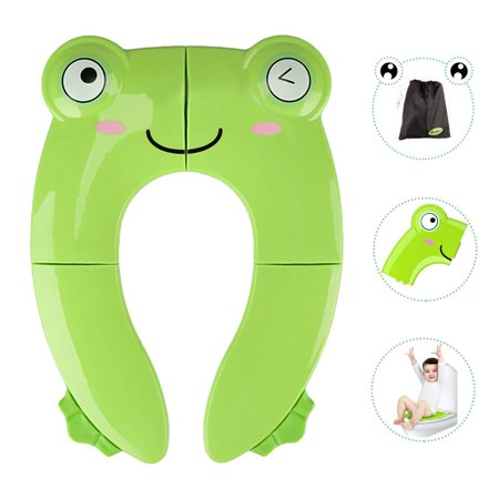 Portable Potty Seat for Toddler Travel - Foldable Non-Slip Potty Training Toilet Seat Cover for Boys Girls, Baby Kids with Drawstring Bag (Green Frog) Green Frog