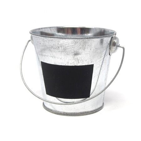 Galvanized Metal Bucket with Chalkboard Label, 3-Inch - Colored Metal Buckets