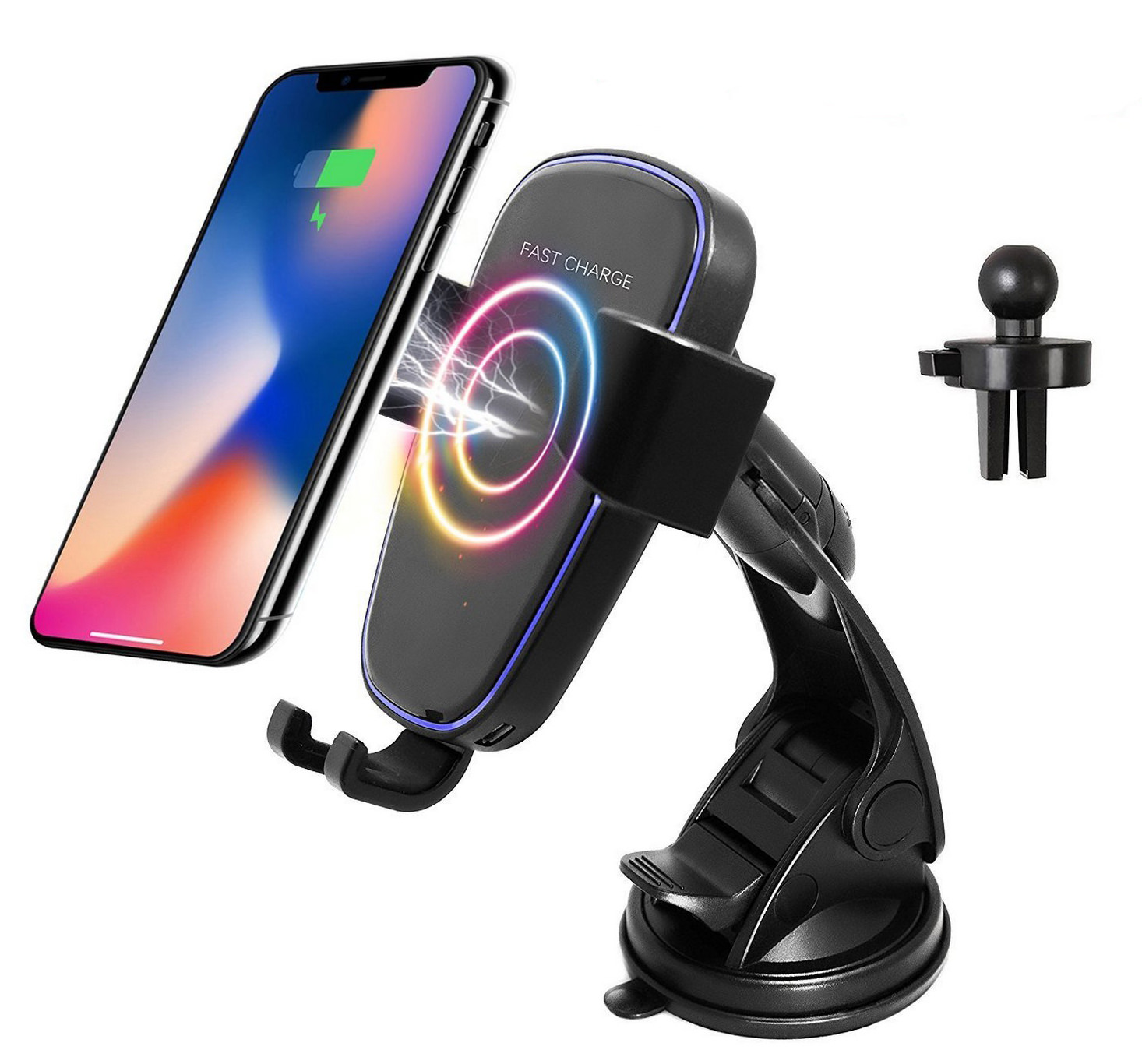 White Note 8 5 /& Standard Charge for iPhone X Lian LifeStyle Qi Wireless 2 In 1 Fast Charge Car Mount for Samsung Galaxy S8 LLSLY S7//S7 Edge 8//8 Plus /& Qi Enabled Devices IW10