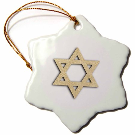 3dRose Beige Star of David with delicate vintage-look pattern - Magen David, Snowflake Ornament, Porcelain, 3-inch