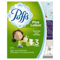 Puffs Plus Lotion Facial Tissues, 3 Family Boxes, 124 tissues per box