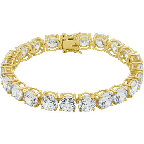 67.32 Carat T.G.W. CZ 18kt Yellow Gold over Sterling Silver 8mm Tennis Bracelet, 7.5""