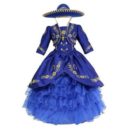 Girls Royal Blue Gold Ruffles Embroidery Bolero Hat Mariachi Dress](Mariachi Dress)