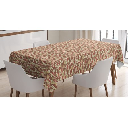 Abstract Tablecloth, Town Houses Pattern with Cool Tiled Roof Urban Architecture City Life, Rectangular Table Cover for Dining Room Kitchen, 60 X 90 Inches, Cream Coral Chocolate, by Ambesonne