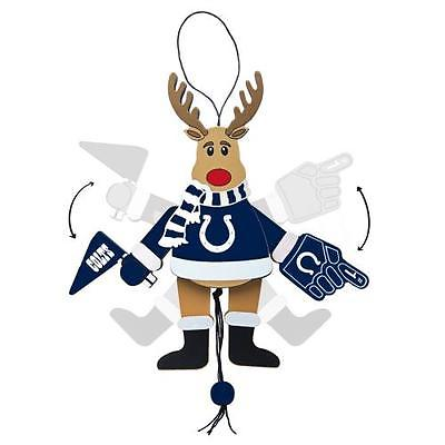 Topperscot by Boelter Brands NFL Wooden Cheering Reindeer Ornament, Indianapolis Colts
