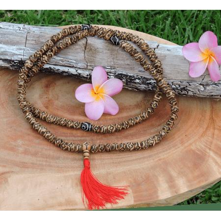 Antiqued Carved Flower Yak Bone 108 Mala with dZi Bead (Wear Dzi Beads)