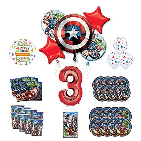 Mayflower Products Avengers 3rd Birthday Party Supplies and 8 Guest Balloon Decoration Kit - Avengers Birthday Supplies