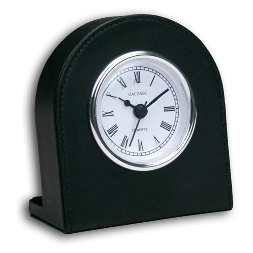 Dacasso Vercelli Leather Desktop Clock