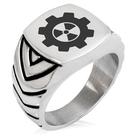Stainless Steel Radioactive Gear Chevron Pattern Biker Style Polished Ring ()