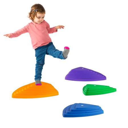 (Triangular Stepping Stones- Fun Triangles for Balance, Coordination and Exercise for Kids- Set of 6 (3 Small Stones and 3 Large Stones) By Hey! Play!)