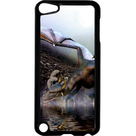 Dragon and Skulls   - Hard Black Plastic Case Compatible with the Apple iPod Touch 6th Generation - iTouch 6 Universal
