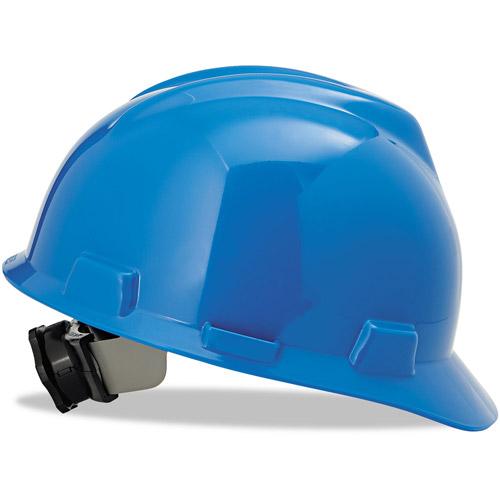 MSA V-Gard Hard Hats with Fas-Trac Ratchet Suspension, Standard Size 6 1/2 8, Blue
