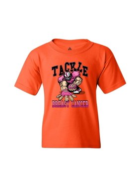 Shop4Ever Youth Tackle Football Player Breast Cancer Awareness Graphic Youth T-Shirt