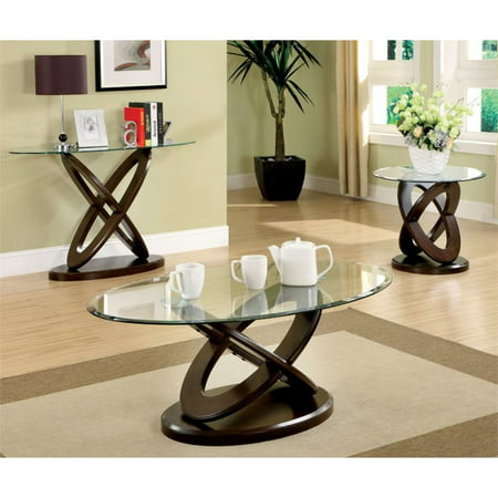 Furniture of america barker 3 piece coffee table set in for Furniture of america coffee table sets