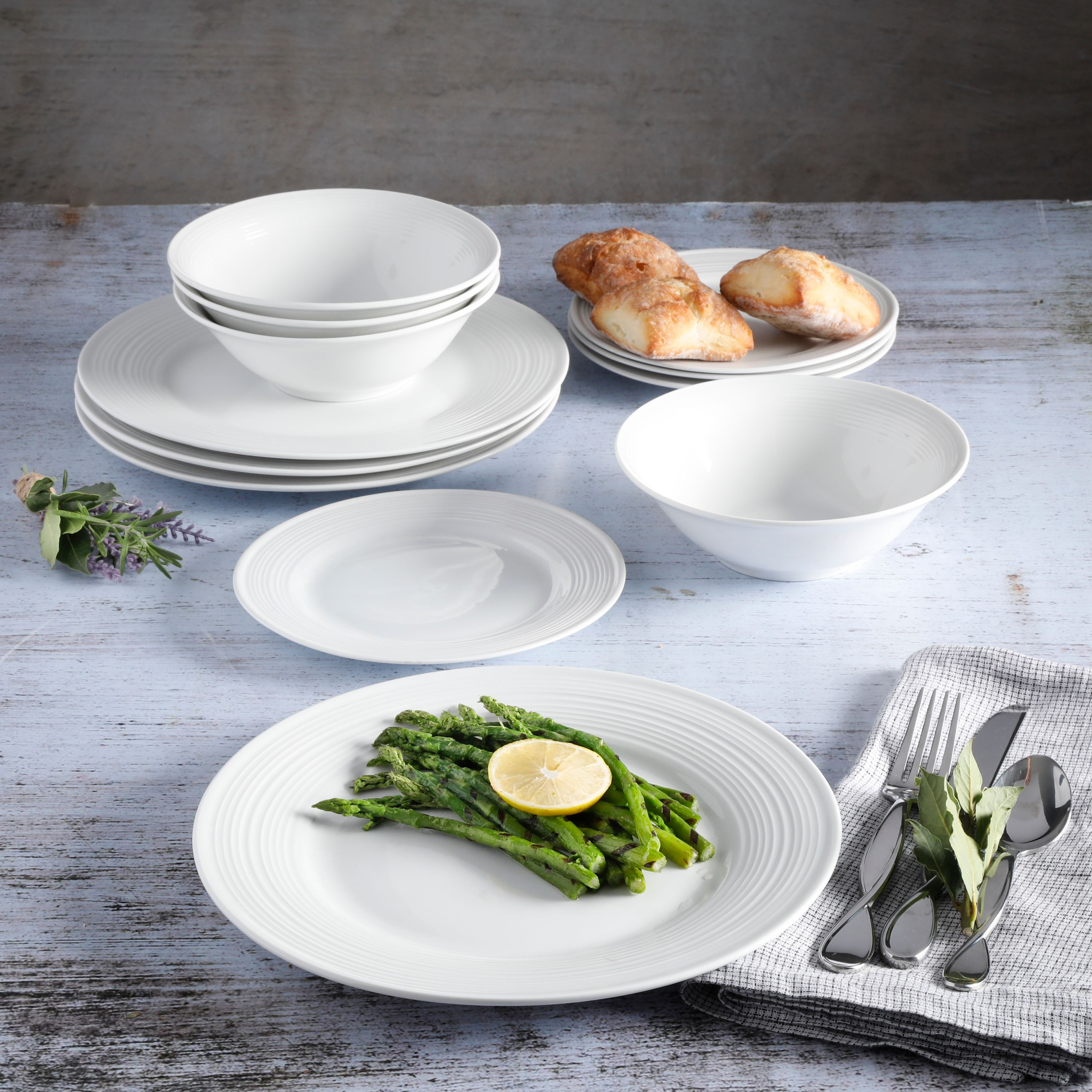 Gibson Home Everyday Embossed 12-Piece White Dinnerware Set