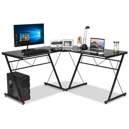 Gymax L-Shape Computer Desk Tempered Glass Laptop Table Workstation Corner Home (Tempered Glass Desk)